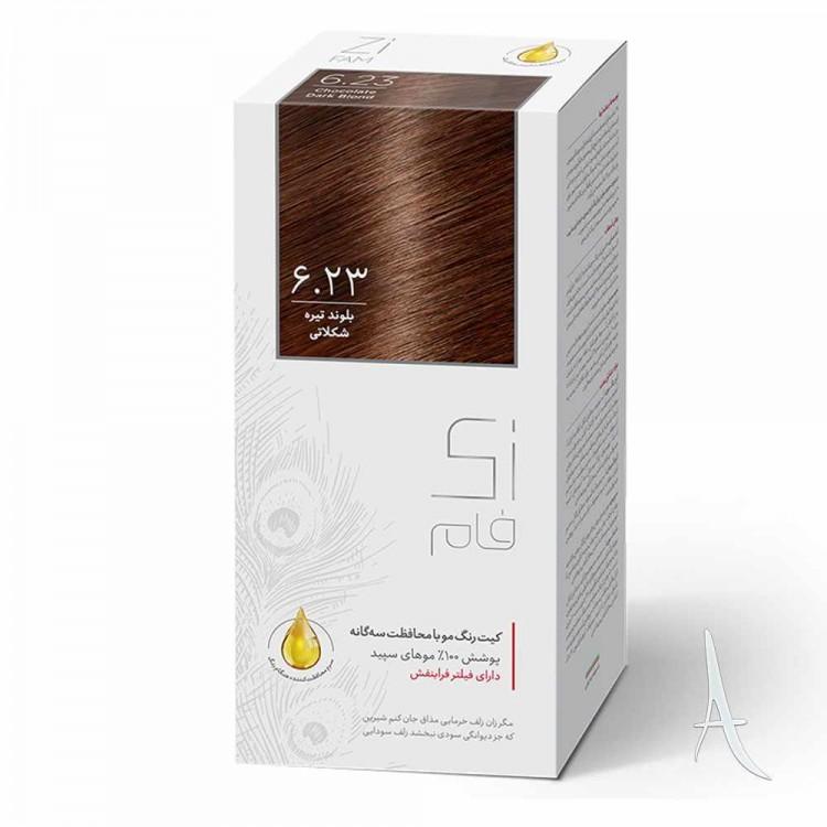 کیت رنگ مو زی فام شماره 6.23 بلوند تیره شکلاتی 50 میلی لیتر